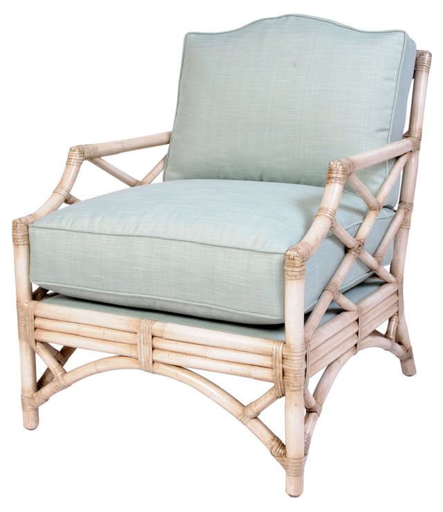 Reed Rattan Lounge Chair, Seaglass