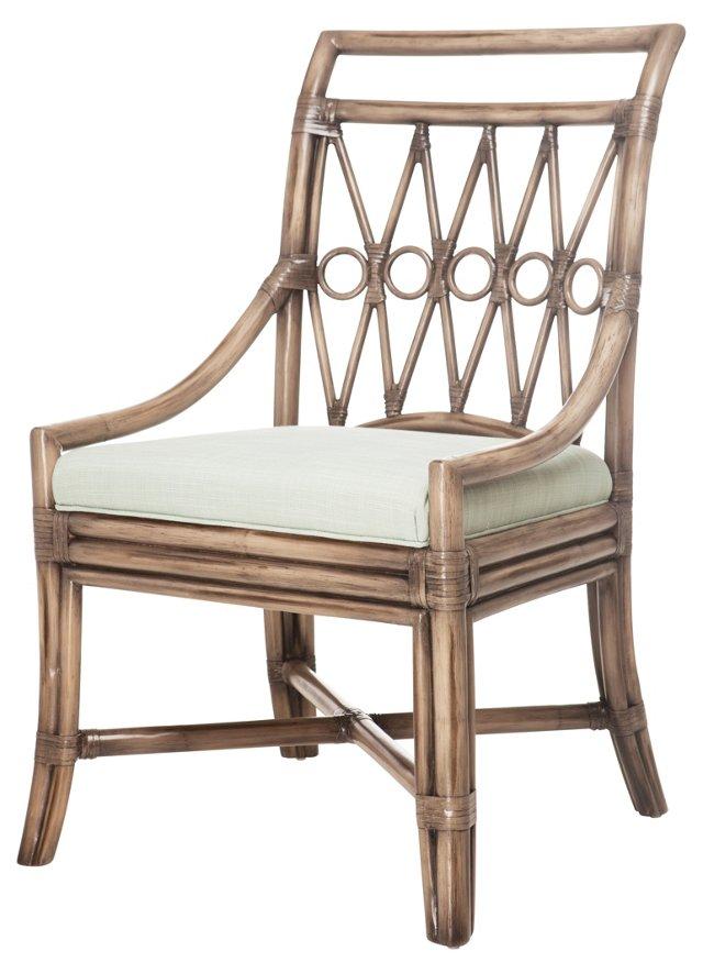 Drake Rattan Side Chair, Light Blue