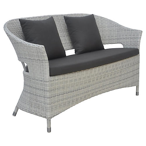 Newport Outdoor Bench, Charcoal Sunbrella