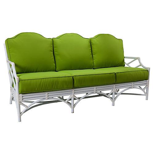 Chippendale Outdoor Sofa, Green Sunbrella