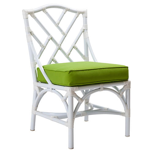 Chippendale Outdoor Side Chair, Green Sunbrella