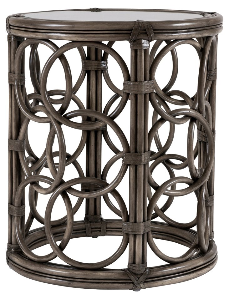 Circulo Rattan Side Table, Smoke