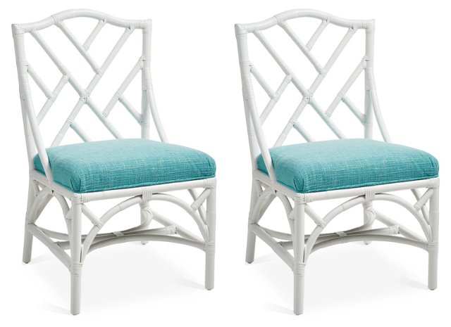 Caribbean Chippendale Side Chairs, Pair