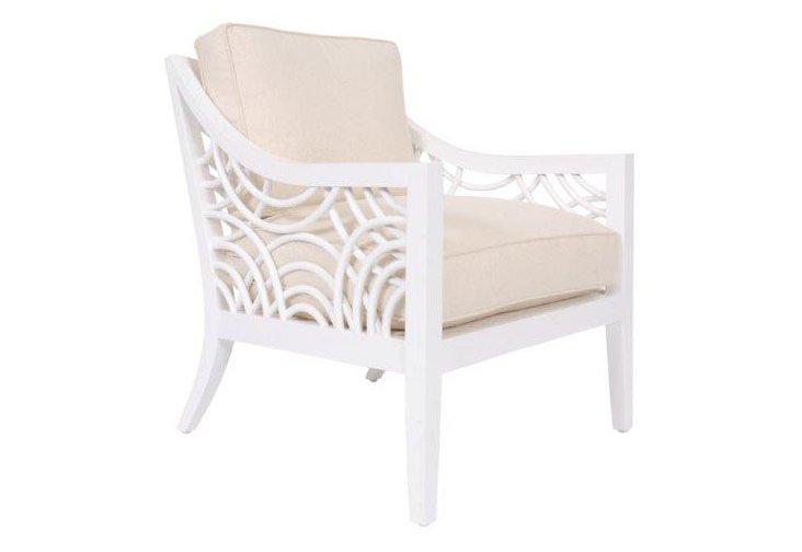 Manhattan Lounge Chair, White/Sand