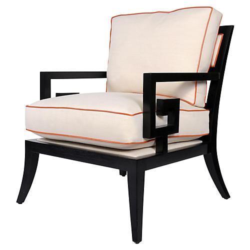 Santorini Lounge Chair, Alabaster/Orange