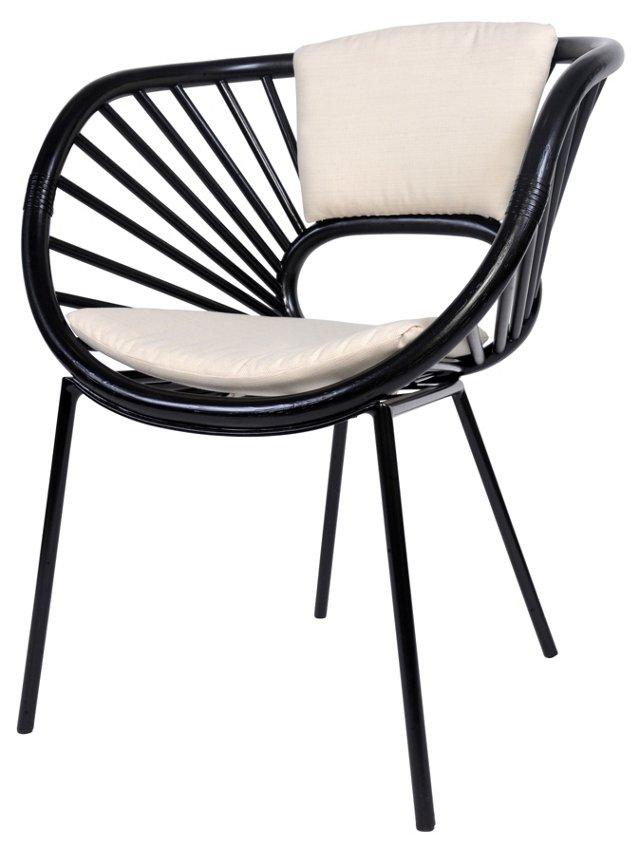 Aura Rattan Chair, Black/White Sand