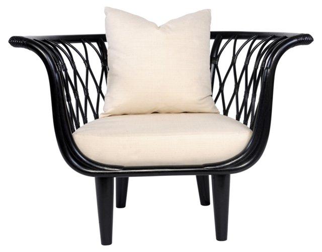 Amsterdam Rattan Bucket Chair, Black