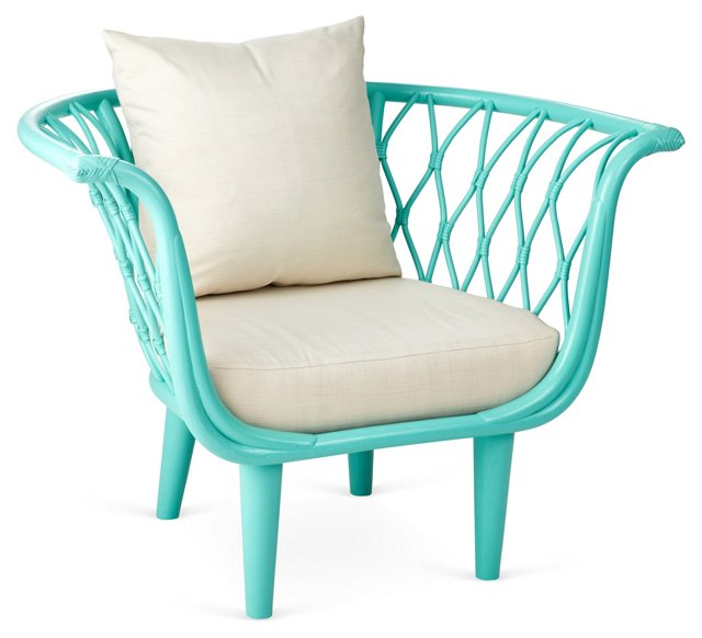 Amsterdam Rattan Bucket Chair, Sea Glass