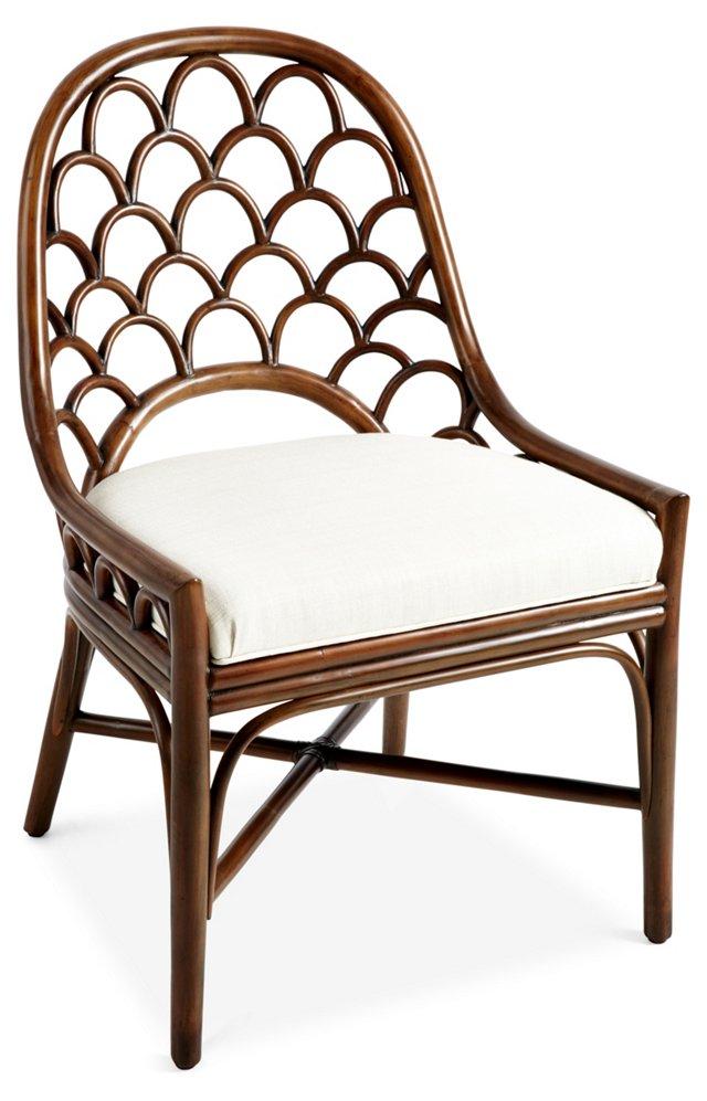 Koi Rattan Side Chair, Walnut/White Sand