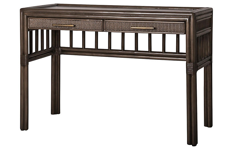 Colony Rattan Desk, Brown