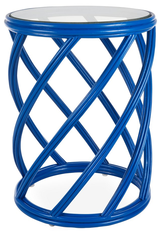 Madison Rattan Side Table, Blue