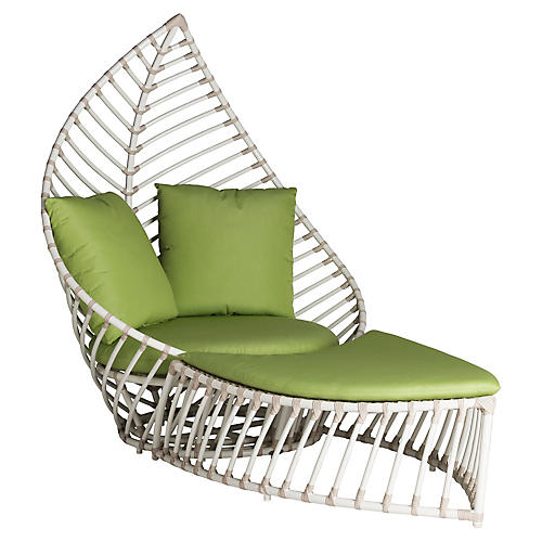 Palm 2-Pc Chair & Ottoman, Green Sunbrella