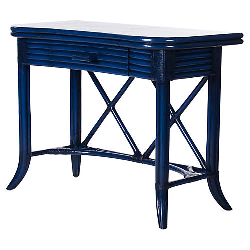 1-Drawer Crushed-Bamboo Desk, Navy Blue
