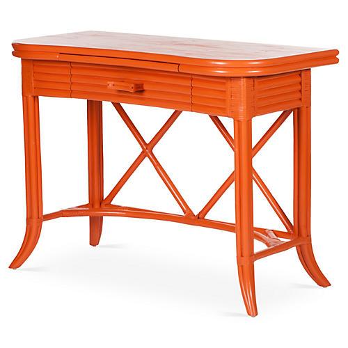Crushed Bamboo 1-Drawer Desk, Orange