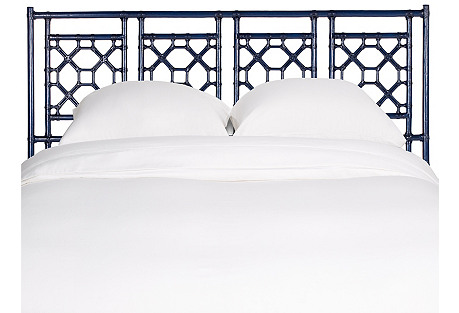 Lattice Back Headboard, Indigo