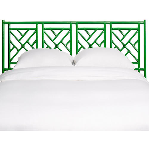 Chinese Chippendale Headboard, Green