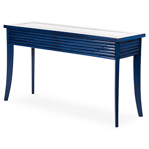 "Bamboo 52"" Console, Navy Blue"