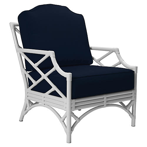 Chippendale Lounge Chair, Navy Sunbrella