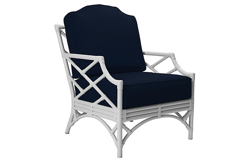 Chippendale Outdoor Lounge Chair, Navy