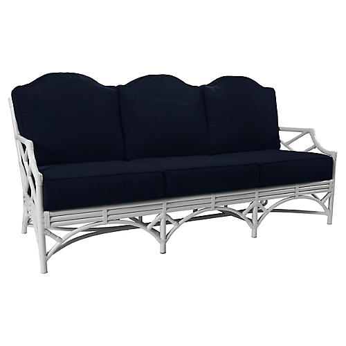 "Chippendale Outdoor 78"" Sofa, Navy"