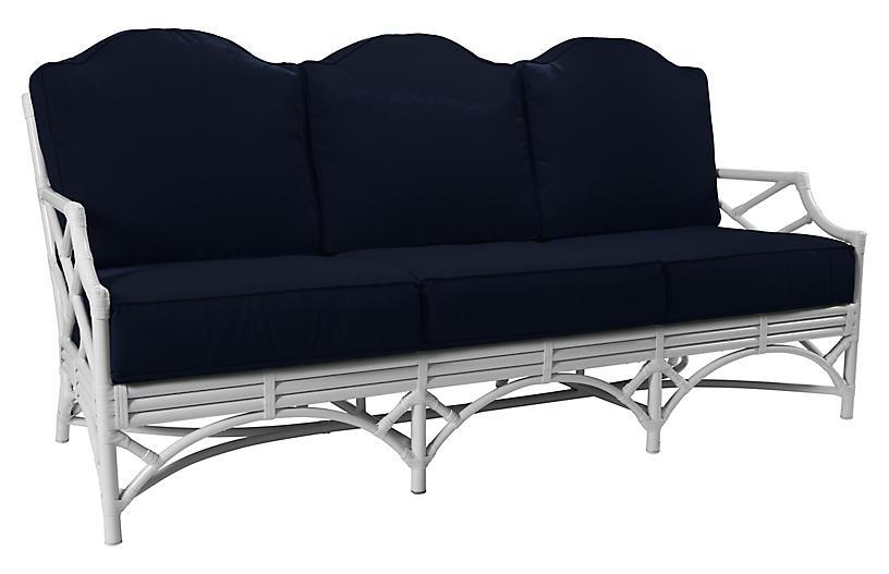 Chippendale Outdoor Sofa, Navy Sunbrella