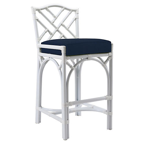 Chippendale Outdoor Barstool, Navy Sunbrella
