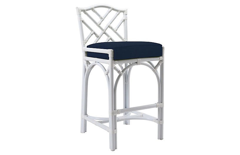 Chippendale Outdoor Barstool, Navy Sunbrella