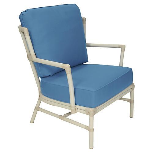 Nantucket Outdoor Lounge Chair, Blue Sunbrella