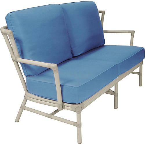 "Nantucket Outdoor 60"" Loveseat, Blue"