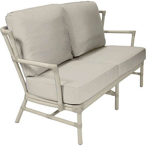 Nantucket Outdoor Loveseat, Vellum Sunbrella