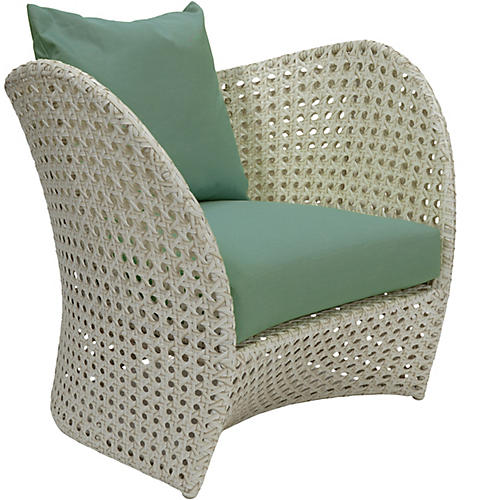South Beach Outdoor Lounge Chair, Spa Sunbrella