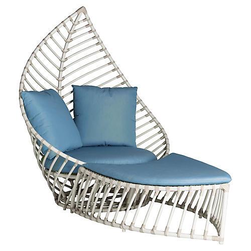 Palm Outdoor Chair & Ottoman Set, Blue