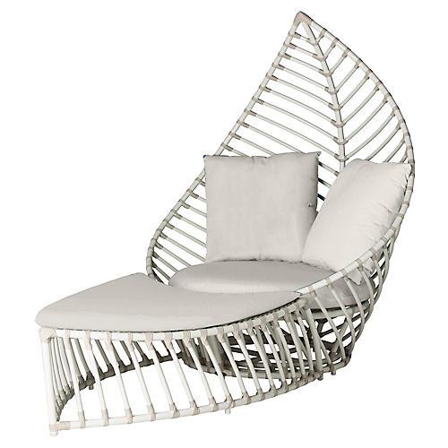 Palm Outdoor Chair & Ottoman Set, White
