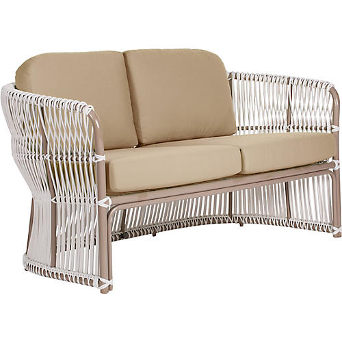 Fiji Outdoor Loveseat, Beige Sunbrella