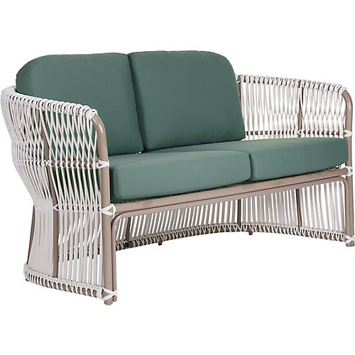 "Fiji Outdoor 62"" Loveseat, Teal"