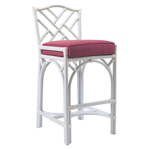 Chippendale Outdoor Barstool, Hot Pink