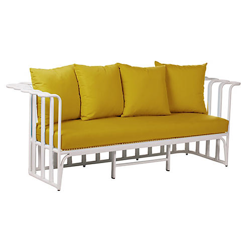 "Calla Outdoor 75"" Loveseat, Sunflower"