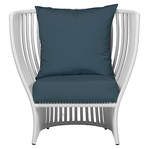 Napa Outdoor Lounge Chair, Sapphire Blue Sunbrella