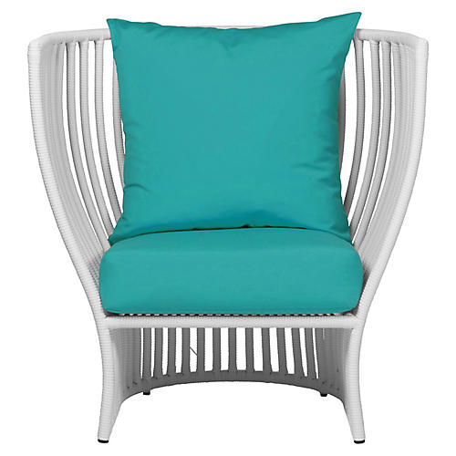 Napa Outdoor Lounge Chair, Aqua