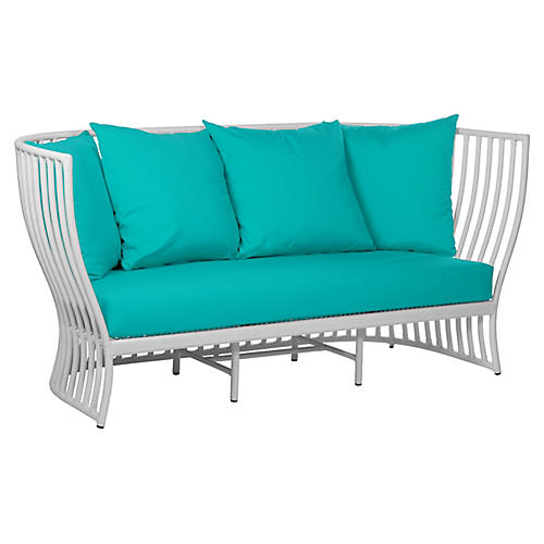 "Napa Outdoor 73"" Loveseat, Aqua"