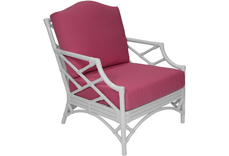 Chippendale Sunbrella Lounge Chair, Pink