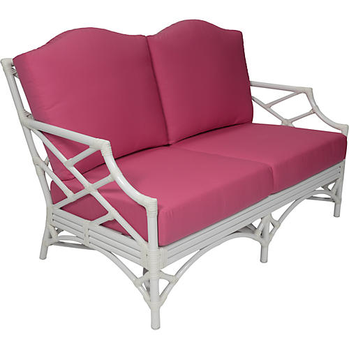 Chippendale Outdoor Loveseat, Pink Sunbrella