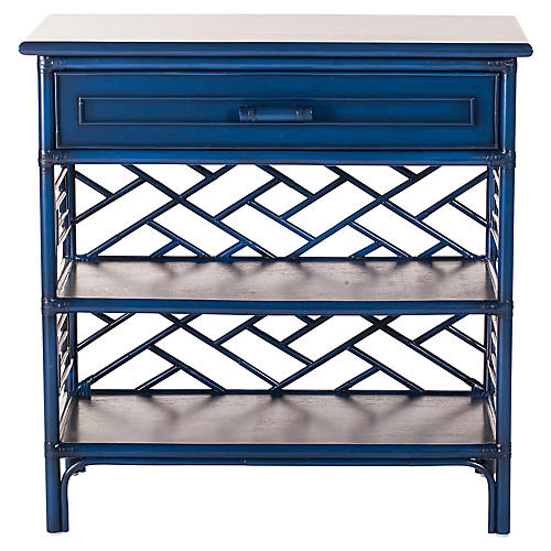 Chippendale Nightstand, Navy