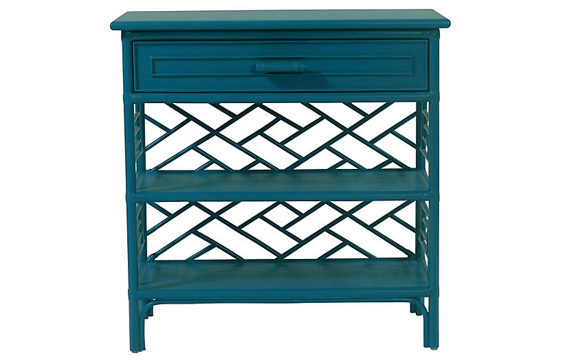 Chippendale Nightstand, Pacific Blue