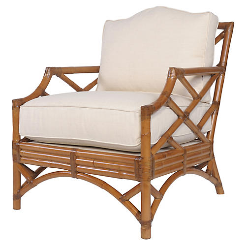 Chippendale Accent Chair, Camel Brown