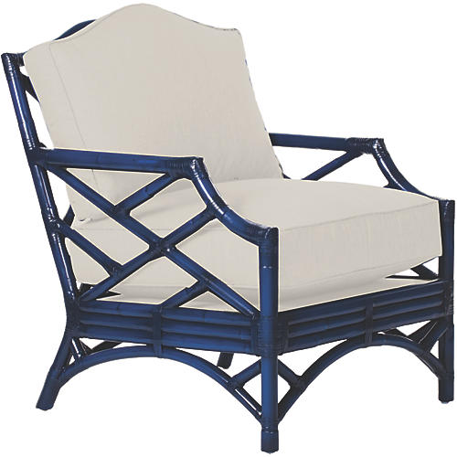 Chippendale Accent Chair, Navy