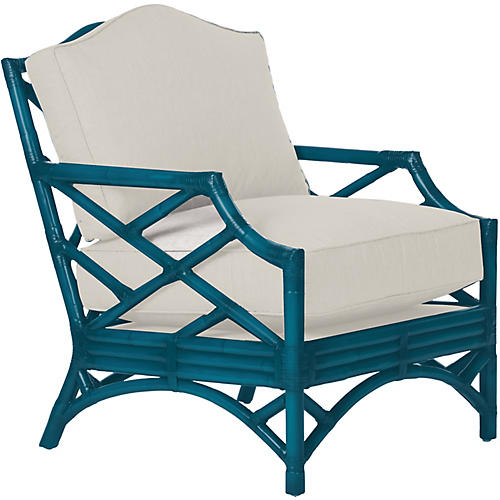 Chippendale Accent Chair, Pacific Blue