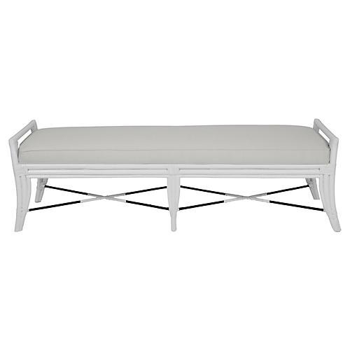 Malacca Long Bench, White