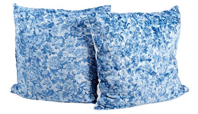Blue Floral Velvet Pillows, Pair