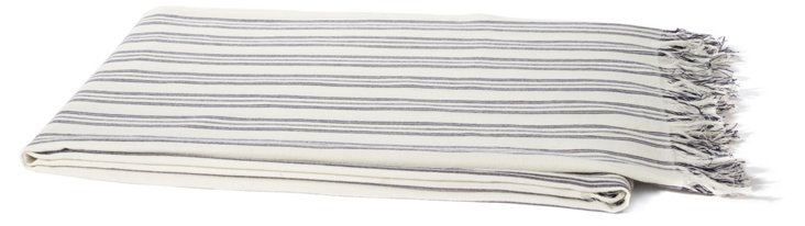 Ticking Stripe Linen Throw, Navy